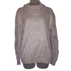 Gray Cowl Turtle Neck Braided Sweater Knit Fate
